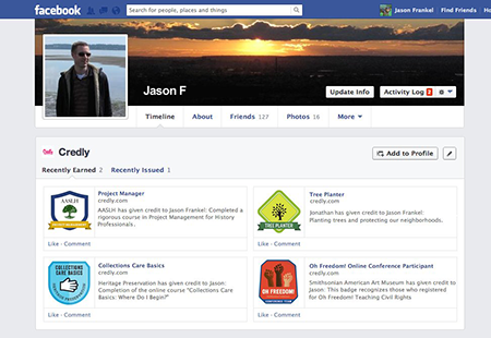Credly area on Facebook Profile.
