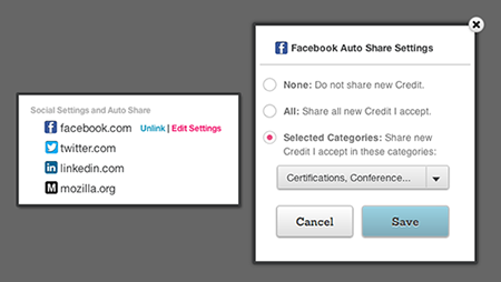 Facebook Auto-share Settings on Credly.