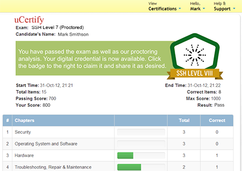 uCertify: Digital badges for online exams and tests