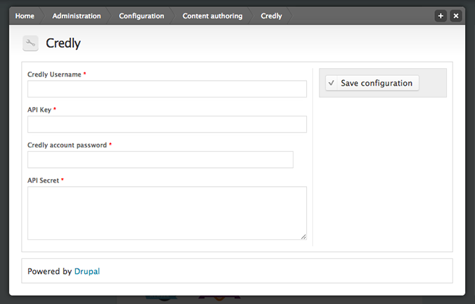 Drupal Module for Digital Badges by Credly- Settings Configuration