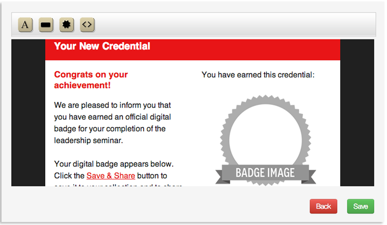 Easily insert badge components into your email