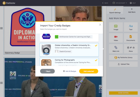 Learners can easily import all or select badges from Credly into their Pathbrite portfolio.