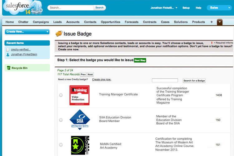Issue digital badges directly from Salesforce