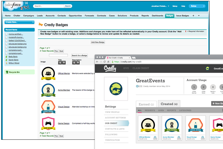 Credly and Salesforce badges automatically sync